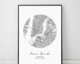 Circle Map New York, Digital Print, Digital, Circle City Map, Circle NY Map Print, New York Map, New York, Modern NYC Map, NYC Map Print