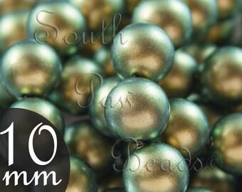Swarovski crystal 5810, 10mm Iridescent green pearl beads, Qty 10