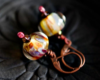 Lampwork Earrings, Lamp Work, Glass Earrings, Dangle Earrings, Fire, Flame, Brass Earrings, Glass Jewelry, Red Flame, PoleStar