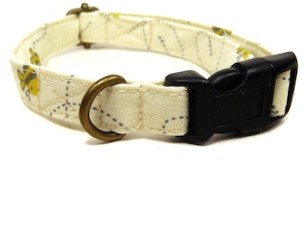 Bumblebee - Light Yellow Bees Spring Organic Cotton CAT Collar - All Antique Metal Hardware