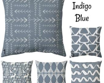 Indigo blue cushion covers, blue pillow covers, indigo blue throw pillow covers, indigo blue bedding, blue couch cushions, zipper pillow