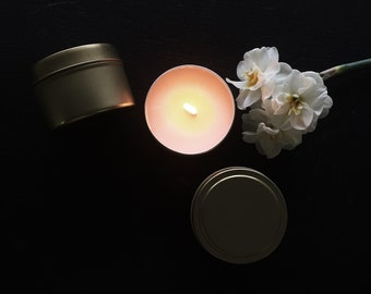 Coconut Wax Candle Travel Tin  // Phthalate Free Fragrance // Wooden Wick