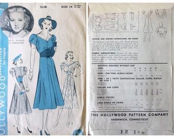 Hollywood Dress Pattern 1538 | 1930's