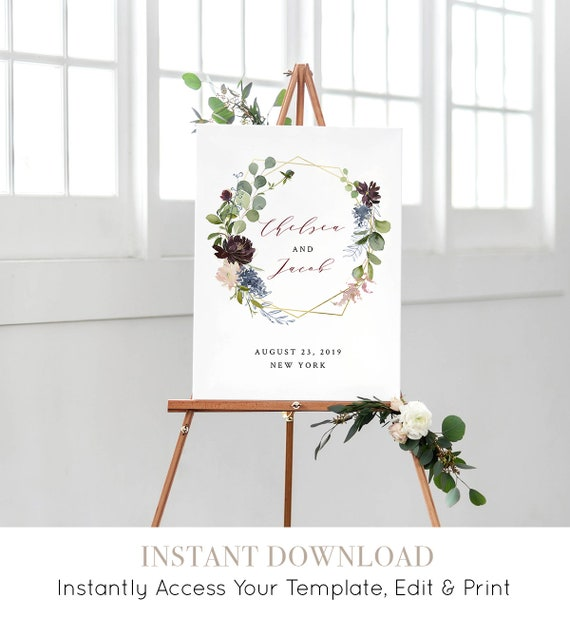 Welcome Sign Template, Printable Wedding Welcome Poster, INSTANT DOWNLOAD, Burgundy & Gold Floral, Boho, EDITABLE, 18x24, 24x36 #040-116LS