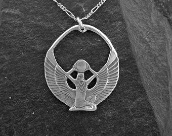 Sterling Silver Egyptian Goddess Isis Pendant on a Sterling Silver Chain.