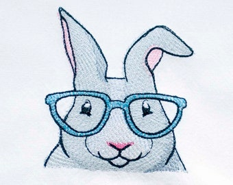 Bunny with Glasses Tea Towel   Embroidered Towel   Embroidered Kitchen Towel   Personalized Dish Towel   Hand Towel   Embroidered Tea Towel