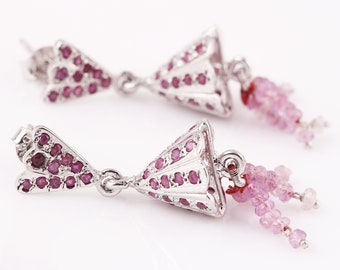 925 Sterling Silver Indian Jhumki Earrings With Natural Ruby Stone