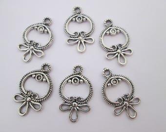 6 connecteur cercle noeud ruban 26 x 16 mm en métal argenté