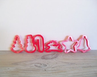 Christmas Cookie Cutters Red Plastic Vintage Retro Cookie Cutters Christmas Cookies Christmas Shapes 6 Pc 1970s