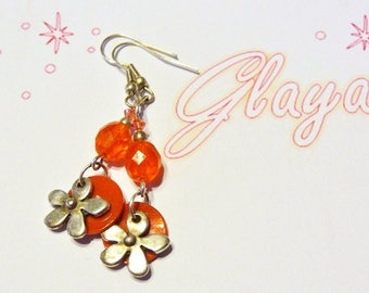 Earrings flower and orange beads