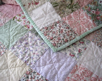 Custom Made Queen Size Patchwork Quilt. Pastel Cottage decor. Classic Quilted Bedding Made to Order. Wedding Gift Anniversary Gift
