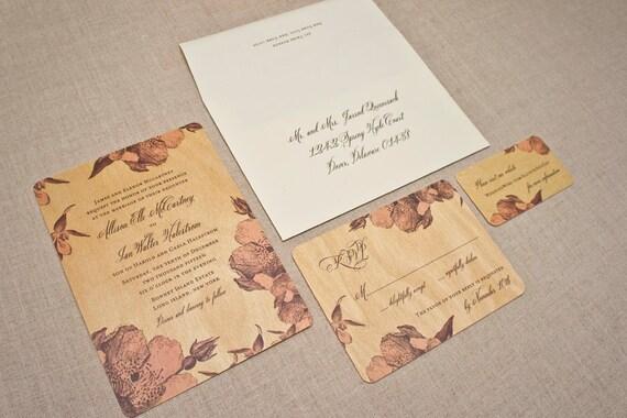 Real Wood Wedding Invitations: Real Wood Wedding Invitations Pink Vintage Flowers