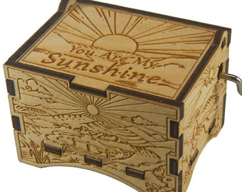 """Artistic Music Box, """"You Are My Sunshine"""", Laser Engraved Wood Hand Crank Music Box"""