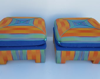 Mid-Century Modern   Square  Stools / Ottomans  A Pair.