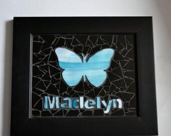 Custom butterfly mosaic wall art.