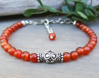 Red Agate Dainty Stone Bracelet with Bali Sterling Silver, 4mm Gemstone Southwest Style Adjustable Jewelry, Colorful Gift for Her