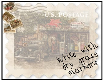 """Dry Erase Message Board - Route 66 General Store Vintage Postage Stamp - 8"""" x 10"""" and 11"""" x 14"""" Sizes"""