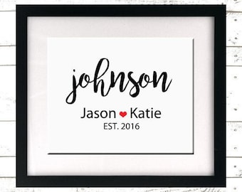 Printable Family Name Print - Wedding Print - Custom Sign - Wedding Gift - Personalized Print - Engagement Gift - Last Name Print