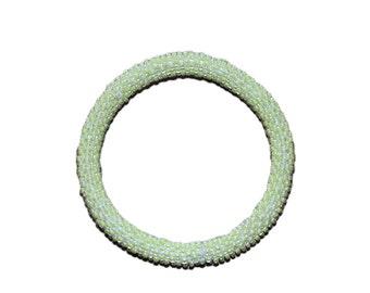 Neon Lime Crocheted Beaded Bracelet, Made in Nepal, Handmade, Summer, Neon