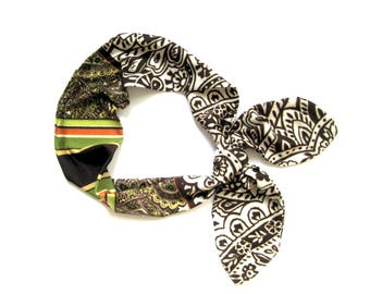 Dolly Bow Headband, Bandana Headband, Wire Headband, Hair Bandana, Retro Headband, Pinup Headband, Teen Gift, Under 20 Dollars,Ready To Ship
