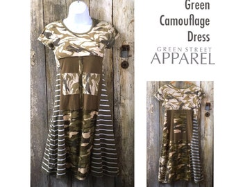 Army dress, Camouflage dress, T-shirt dress, Women's upcycled clothing, Refashioned clothing, Urban dress, Funky dress, Olive dress, S/M