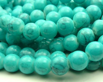 8mm Turquoise and Black Veined Round Glass Beads - Smooth, Shiny Beads - 25pcs - BN2