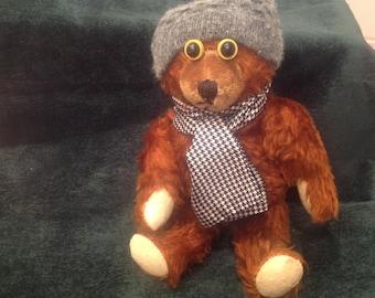 Vintage reddish brown mohair teddy bear