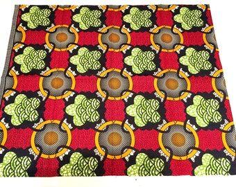 African fabric fat quarter abstract red green gold black circles flowers
