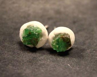 Porcelain and Rough Tsavorite Garnet Stud Earrings- Handmade ceramic earrings//tsavorite //ceramic jewelry