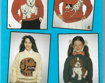 1990 Knitting Pattern Knit Pullover Sweaters - DOGS- 4 Graph Charted Patterns - Child & Adult - Westies, Dalmation, Golden Retriever, Pooch