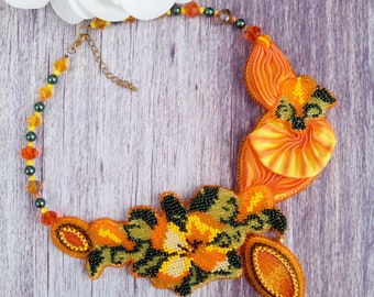 Silk Shibori Jewelry, Beaded Necklace, Beadwork Necklace, Shibori Necklace, Yellow Shibori silk Necklace