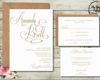 Blush and Champagne - Wedding Invitation