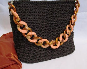 Brown ribbon bag with copper and salmon chain
