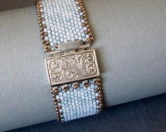 faded denim beaded cuff, blue seed bead bracelet, handmade beaded bracelet, silver jewelry, boho bracelet, beaded jewelry, gift for her