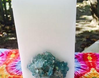 Crystal Candle~ White Tall Square Scented Candle w/ an inlaid Aqua Aura Blue Quartz Crystal Cluster that illuminates when lit!