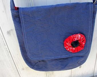 "Blue Messenger Bag with Red Yoyo, 11"" x 11"", long strap, shoulder bag, casual, cross-body bag, purse, lightweight, handmade, OOAK"