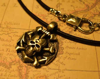 Free Shipping, Leather Necklace, Skull and Crossbones, Mens Necklace, Mens Jewelry, Mens Gift, Pendant, Distresed Cord