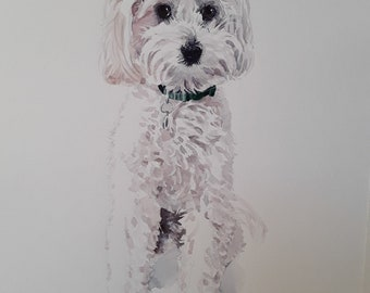 Dog portrait watercolor dog painting watercolor sketch pet portrait deal birthday gift wall art dog lovers gift memorial