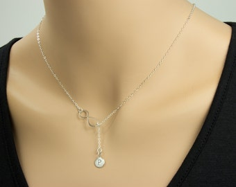 Infinity Love  with Initial Necklace - Eternity Circle, Infinity Link, in Sterling Silver - Dainty Necklace
