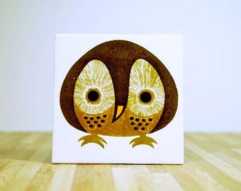 Vintage Kenneth Townsend Menagerie Collection Owl Ceramic Tile