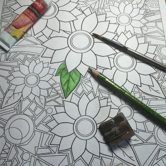 Druckbare Blume Mosaik Malvorlagen Instant Download Spaß