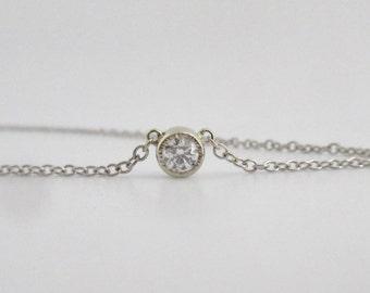 14k White Gold Diamond Pendant Necklace, .25 Round Diamond, Bezel Set Diamond, Simple Diamond Necklace, Ready to Ship Neckwear