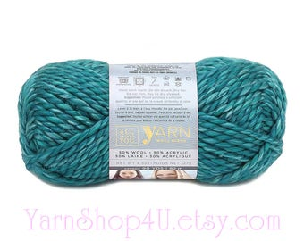 CARIBBEAN SEA Wool Blend Super Bulky Yarn. 50/ 50% Wool/ Acrylic Blend. All Things You Yarn. Teal Turquoise color. 4.5oz 90yds Size 6 yarn