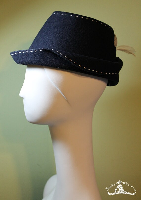 Blue Fedora Hat - Women's Navy Blue Wool - Unique Navy Blue Women's Fedora - 1940s Women's Navy Fedora - OOAK
