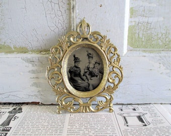 Vintage Tintype in Decorative Brass Frame