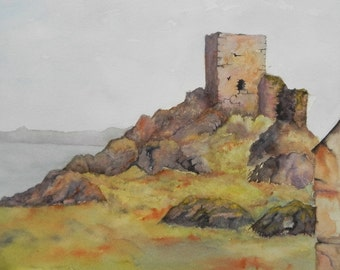 Carrickabraghey Castle,  Donegal, Ireland , Irish Art, Wild Atlantic Way.