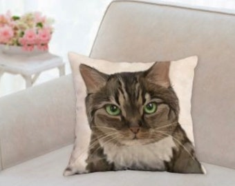 Custom Pet Portrait Printed on a Throw Pillow of your Cat, Dog, etc.