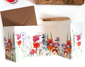Wild Flowers Greeting Card for Mothers day, Birthdays, Weddings