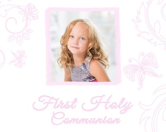 Grey and Rosy Pink First Holy Communion Digital Invitation
