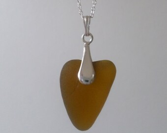 Toffee Heart Shaped Sea Glass Sterling Silver Necklace, Pendant, Seaglass, Beach Jewelry, Seaham, Beach Glass, Seaglass Necklace